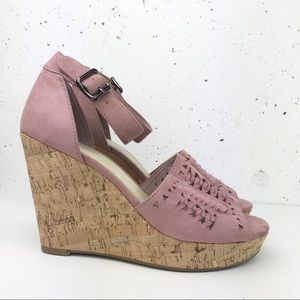 Marc Fisher Suede Espadrille Wedges Pink Size 8